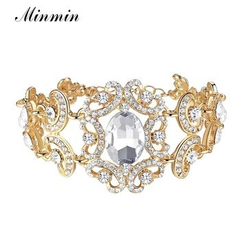 Minmin Gold/Silver Big Crystal Color Floral Bracelets for Women Gifts Fashion Wedding Jewelry African Beads Bangles Party SL092