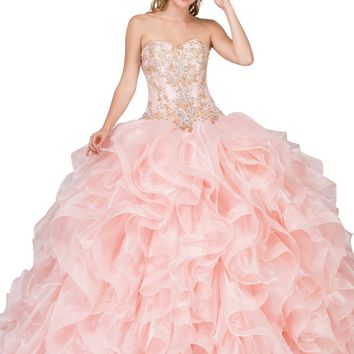Dancing Queen - 1250 Strapless Embroidered Ruffled Quinceanera Gown