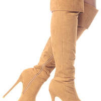 Chestnut Faux Suede Fold Over Thigh High Platform Boots
