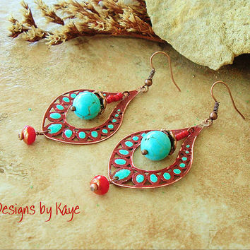 Turquoise Earrings, Rustic Southwest Beaded Copper Drop Earrings, Gypsy Red and Turquoise, Original Handmade Bohemian Designs by Kaye Kraus