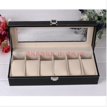 6-slot wood structure PU leather watch storage box display case jewelry box transparent glass top lid black SBH004