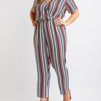 Plus Size Striped Wide Leg Jumpsuit | Charlotte Russe