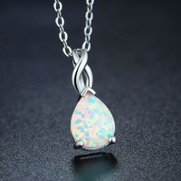 White Drop Australian Opal Necklace Pendants Moonstone Labradorite Sunstone Necklace, Opal Jewelry