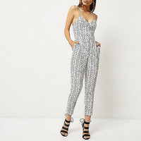 White stripe cami jumpsuit - vacation shop - sale - women