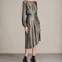 ALLSAINTS US: Womens Ela Dress (SILVER GREEN)