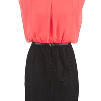 Belted Chiffon Top Lace Skirt Dress - Calypso Coral