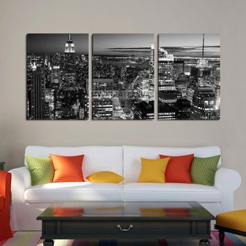 Large Wall Art NEW YORK Canvas Prints - New York City Skyline at Dusk with Skyscrapers (Black and White) - MC201