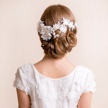 Bridal Flower Headpiece on Lace - Bridal Floral Headpiece Silk - Flower Headpiece - Lace Headpiece - Wedding Headpiece