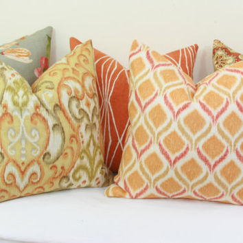 "Orange green yellow ikat decorative throw pillow cover. 18"" x 18"". 20"" x 20"".22"" x 22"". 24"" x 24"".26"" x 26"". lumbar sizes"