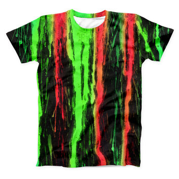 The Running Neon Green and Coral WaterColor Paint ink-Fuzed Unisex All Over Full-Printed Fitted Tee Shirt