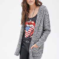 FOREVER 21 Marled Hooded Cardigan Black/Cream
