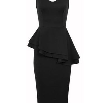 Sleeveless Asymmetrical Peplum Bodycon Midi Dress