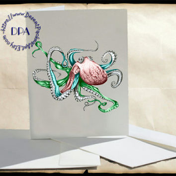 Deep Sea Octopus Art - - 10 Cards & Envelopes, Printable Art on Matte Note Cards,Everyday and Special Cards
