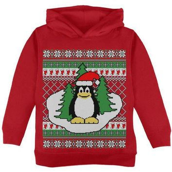 CREYCY8 Penguin on Ice Ugly Christmas Sweater Toddler Hoodie