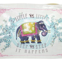 "Festival Elephant Art Design "" Little By Little Step By Step It Happens"" Oil Cloth Large Make-up or Accessory Travel Bag"