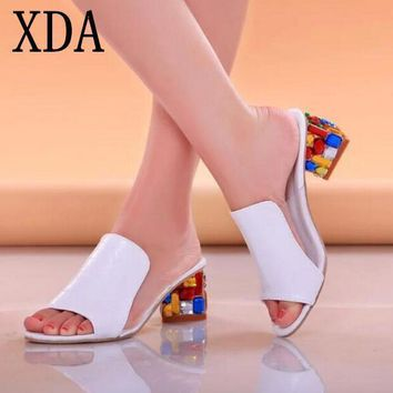 XDA Rhinestone Peep Toe Heels Women Sandals Shoes Sexy Open Toe Wedge Slides Shoes Wom