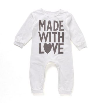 Lovely Heart Printed Kids Baby Boys Girls Warm Infant Romper Jumpsuit Bodysuit Cotton Clothes Comfortable Soft Outfits