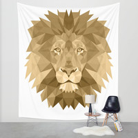 Lion Geometric Light Brown Wall Tapestry by Carma Zoe