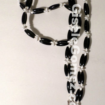 Black and White Beaded Lanyard -Badge / Keys Holder -Cellphone Pouch Holder -Handmade From Beads -Gift Ideas - Ready To Ship - Made in USA