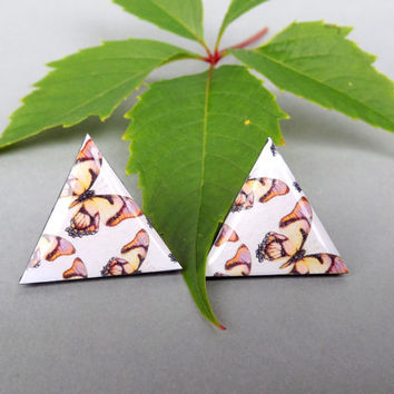 Butterfly stud earrings, Triangle earrings, Triangle jewelry, Geometric jewelry, Ear stud, Big stud earrings, White earrings, Birthday gift