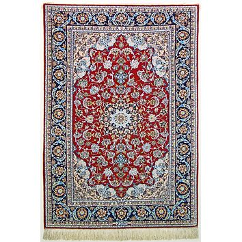 Oriental Isfahan Super Fine Wool and Silk Persian Rug, True Blue/Red