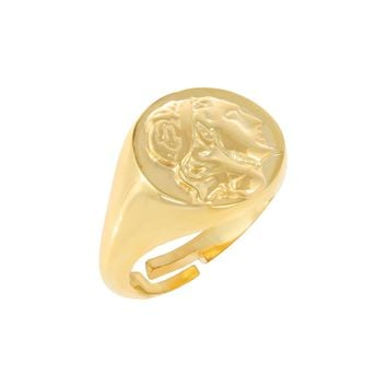 Greek Coin Pinky Ring