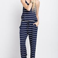Casual Striped Jumpsuit  - Navy