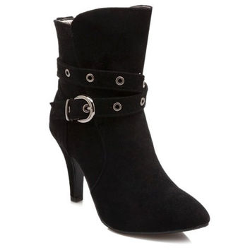 High Stiletto Heel Ankle Boots With Buckle Design