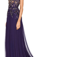 Violet Perfume Tulle Gown With Embroidered Bodice by Marchesa - Moda Operandi