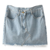 ROMWE Washed Distressed Light Blue Denim Skirt