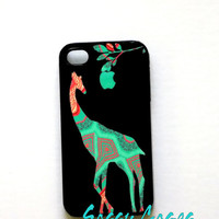 iPhone 4 / 4S Case Patchwork Giraffe in Mint and Coral Apple iPhone Case ORIGINAL Artwork
