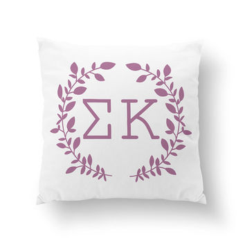 "10"" or 16"" Sigma Kappa Wreath Pillow - Sorority Pillow"