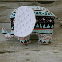 Tribal baby elephant plushie - aqua coral baby girl nursery - tribal / aztec minky elephant stuffed animal baby girl decor