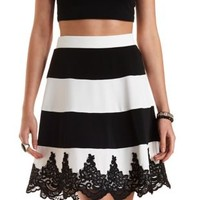 Lace-Trim Striped Skater Skirt by Charlotte Russe