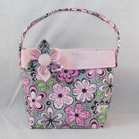 Little Girls' Pink and Gray Floral Purse With Detachable Fabric Flower Pin