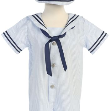 Boys Light Blue Cotton Seersucker Sailor Romper w. Hat 3-24m