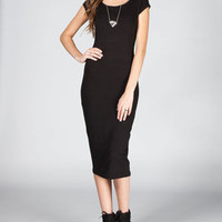 Mmxxiii Cap Sleeve Bodycon Midi Dress Black  In Sizes