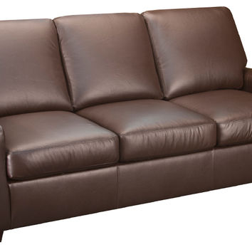 Condo Leather Sleeper Sofa Queen Bed with Pocket-Coils
