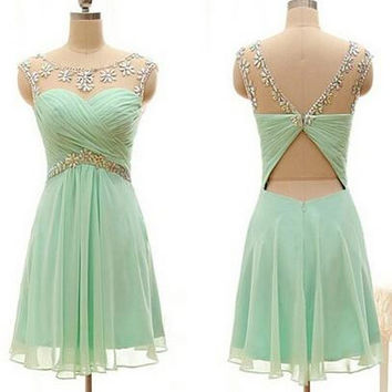 Simple A-line Beaded Chiffon Homecoming Dress Party Dress