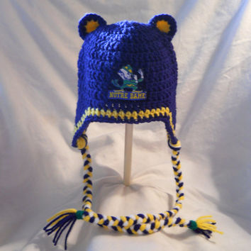 Notre Dame Irish Crochet Hat With Ears, Ear Flaps, Embroidered Logo, and Shamrock. Children age 4-10