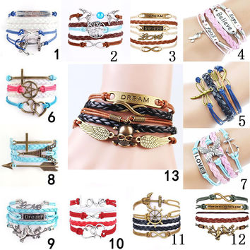 201613 style Jewelry Multilayer Leather Bracelet Arrow Eiffel Tower Anchors Infinity Heart Owl Wings Charm Bracelets Pulseira