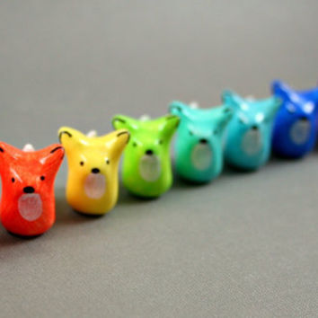 Choose Your Color - Little Fox - Hand Sculpted Miniature Polymer Clay Animal