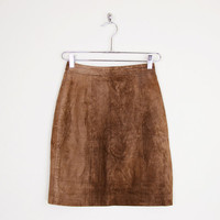 brown suede skirt, brown leather skirt, suede mini skirt, leather mini skirt, 80s leather skirt, leather pencil skirt, motorcycle skirt, xs