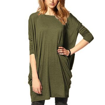 Women Olive Green Oversized Dolman Sleeve Tunic T-Shirt Top