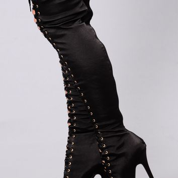 Opal Lace Up Boot - Black