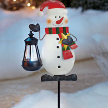 Snowman Holding Lighted Solar Lantern Holiday Yard Stake Christmas Decor