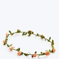 Mini Peach Rose Vine Crown