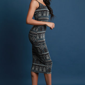 Metallic Tinsel Tribal Midi Dress | UrbanOG