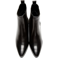 SAINT LAURENT Black Leather Chealsea Boots
