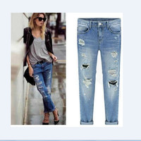 Summer Strong Character Ripped Holes Slim Hot Sale Jeans [6358706308]